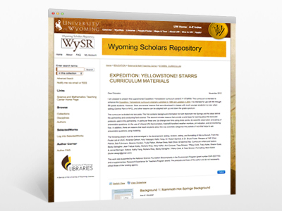Yellowstone Curriculum at the University of Wyoming